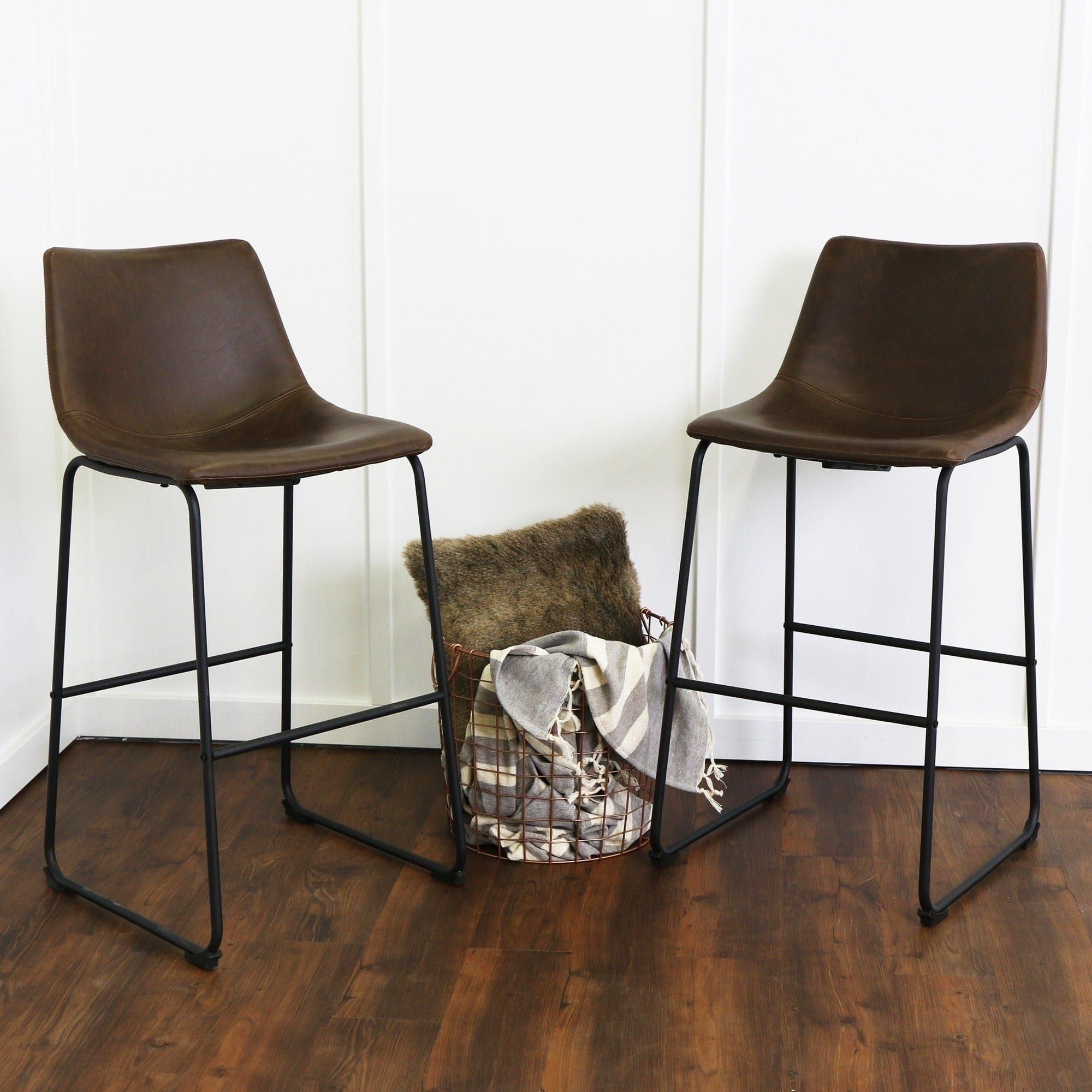 Carbon Loft Prusiner Faux Leather Bar Stool Set Of 2