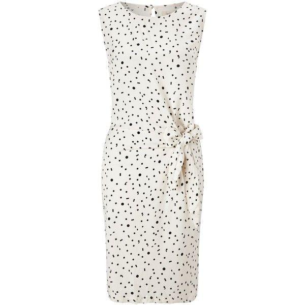 Numph Itsuki Geometric Print Tie Dress, Birch (4.655 RUB) ❤ liked on Polyvore featuring dresses, embellished maxi dress, ruched maxi dress, ruched dress, sleeved maxi dress and sleeveless maxi dress