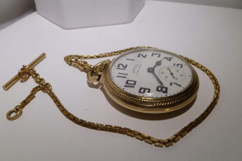 10k Gf Hamilton Railway 992b Open Face Pocket Watch 21 Jewel Antique Gf Chain Hamilton Railwayspecial Pocket Watch Antique Pocket Watch Watch Chain