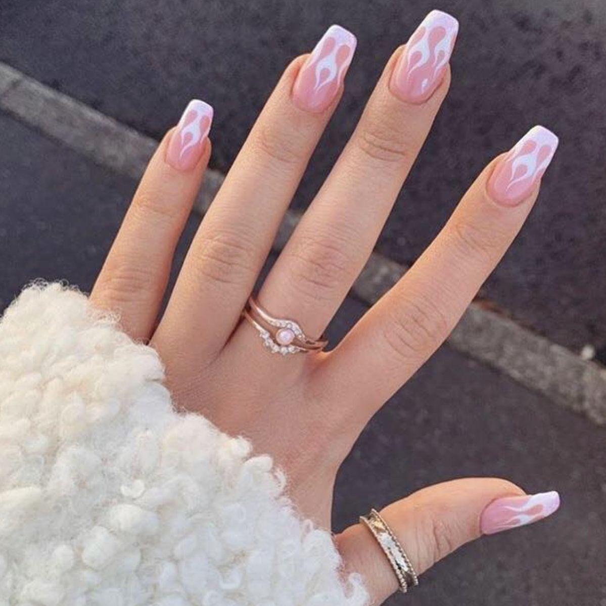 French Nail Flames Pink Nails Pink Acrylic Nails Acrylic Nails