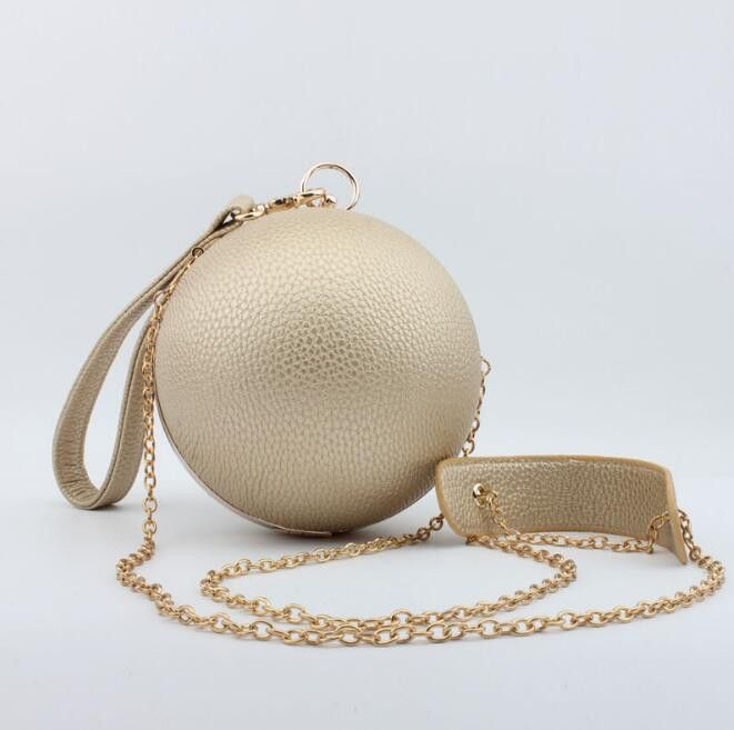 Fashion PU Leather Round Evening Bag Earth Shaped Hand Bag Mini Chain Shoulder Messenger Bag Purses Clutch Ladies Wallet 8245-3