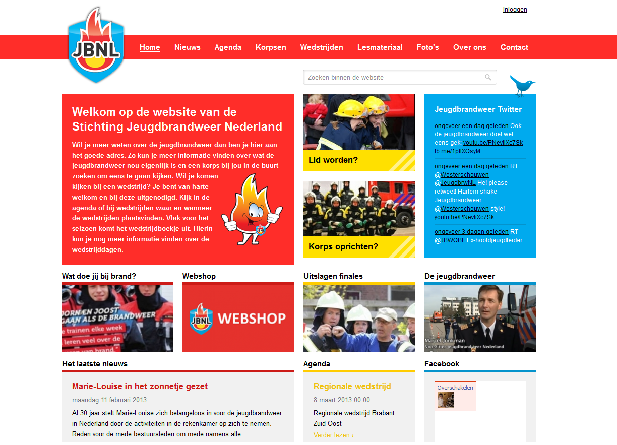 New website of the Junior Fire Department. We used the colors of the new mascotte/logo as inspiration.