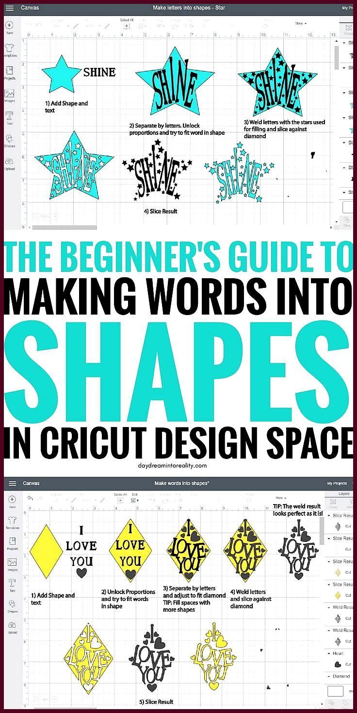 Formen im Cricut Design Space bearbeiten – Text ausschneiden Hallo Tagträumer! Formen sind … #aussch...