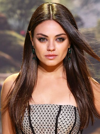 Mila Kunis middle-part, long straight hair with dramatic eyelashes