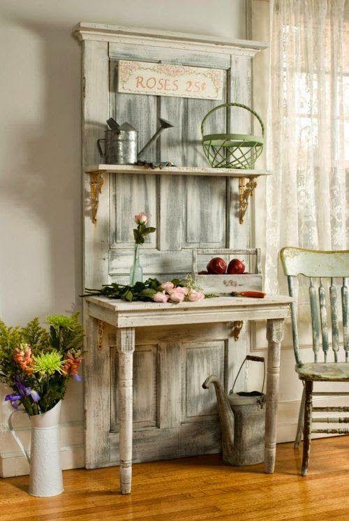 decorar con puertas antiguas perchero estanteria