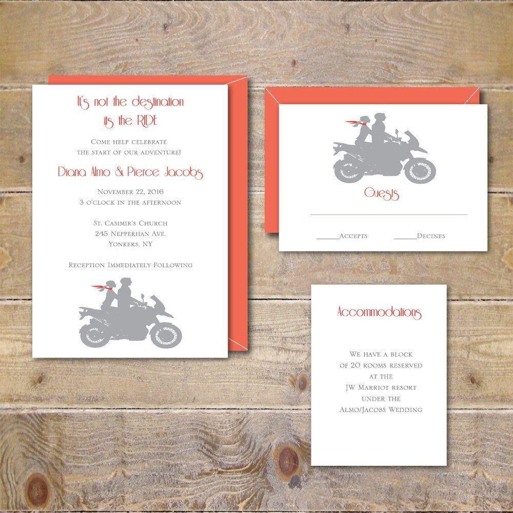 Motorcycle Wedding Invitations, Motorcycles, Wedding Invites, Modern ...