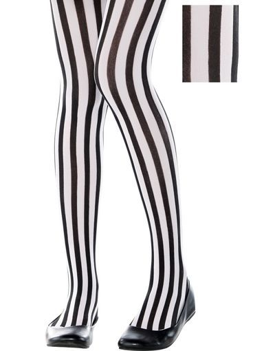 a43d0a8f0b45d Child Black & White Vertical Striped Tights - Party City ...