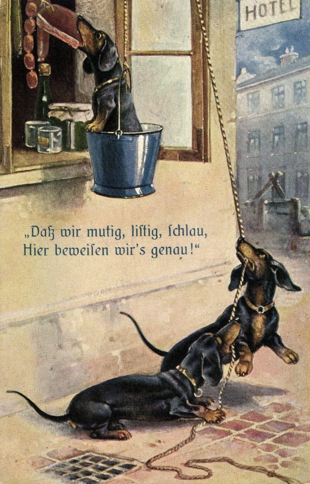 Dachshund Teckel Dog Stealing Meat German Artist Postcard 1918