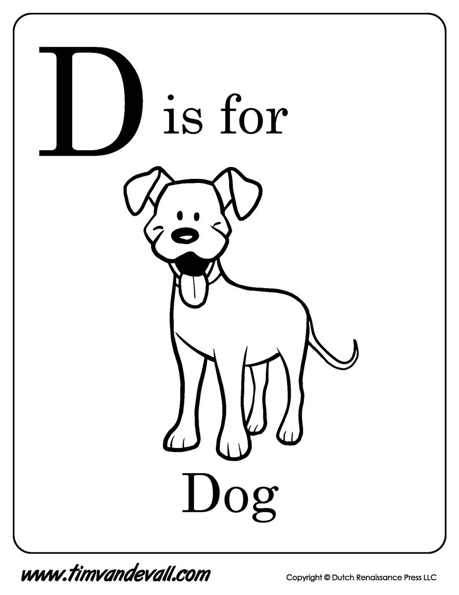 Letter D Is For Dog Coloring Pages Download Kids Coloring