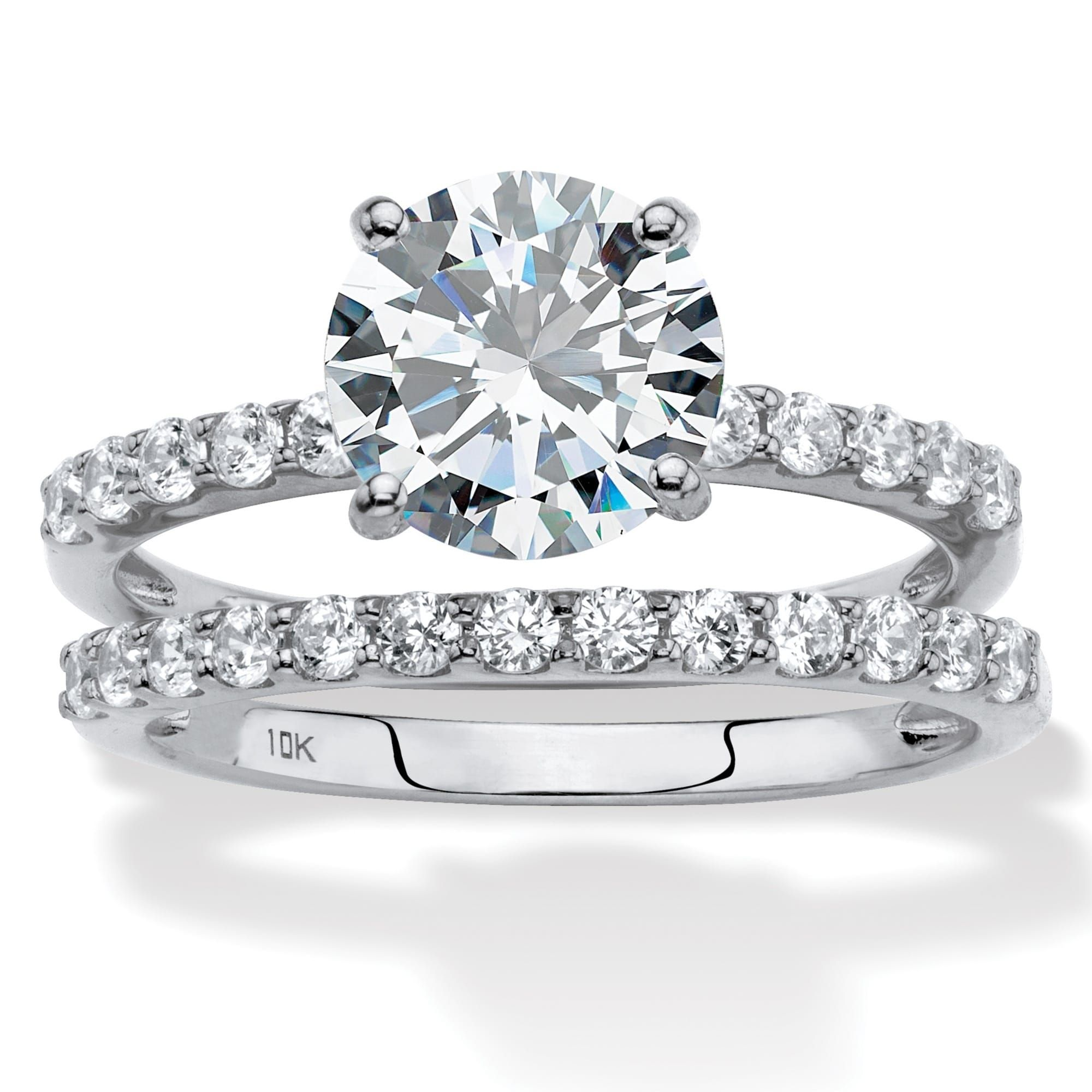 10K White Gold Cubic Zirconia Bridal Ring Set Bridal