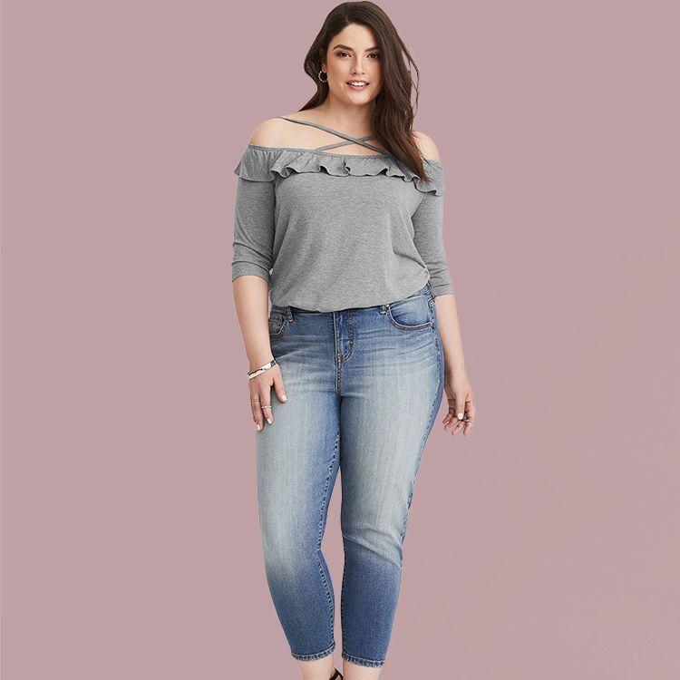 3122849f96f7 Larace Plus Size Women Off The Shoulder Blouses Top With Crisscross Straps