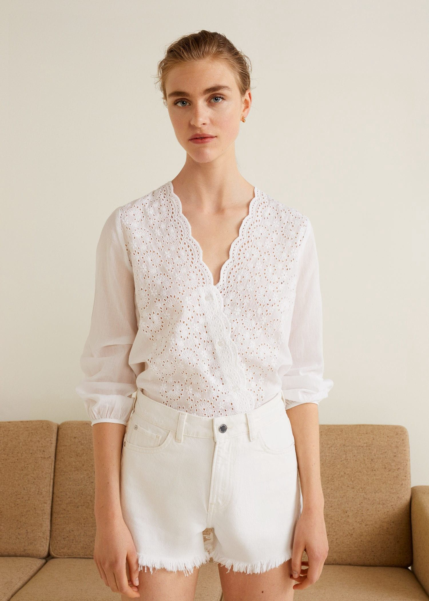 df087d09c31 Mango Embroidered Openwork Blouse - 4 in 2019 | Products | Shirt ...