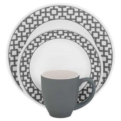 Corelle Impressions Urban Grid 16 Piece Dinnerware Set, Service for ...