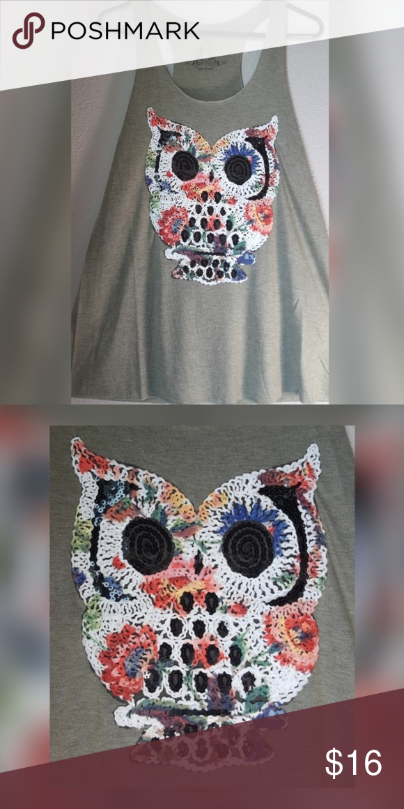 3 for $15 Crochet Sequin Owl Tank Top NWOT Cute, comfy, soft tank top by Bear Dance. Olive green color. Sequin accents. Tops Tank Tops #crochettanktops