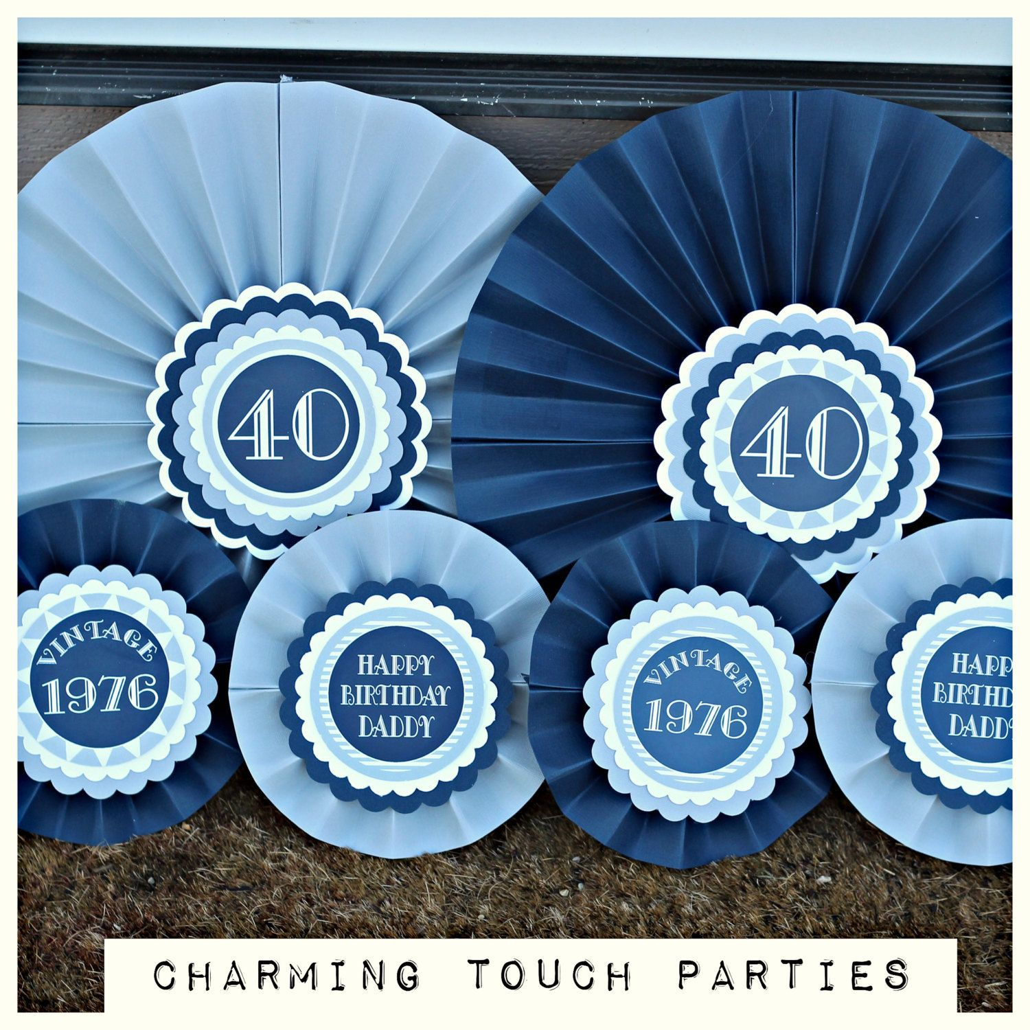 40th Birthday Party Decorations Masculine Navy Blue And Grey Rosettes Paper Fans Fully Assembled Customizable By CharmingTouchParties