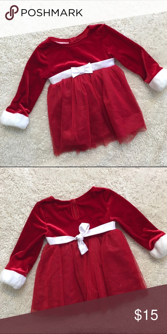 12 month christmas dress 12 month holiday dress for a little girl worn once for santa pictures faux fur polyester and spandex the skirt part has a little - 12 Month Christmas Dress