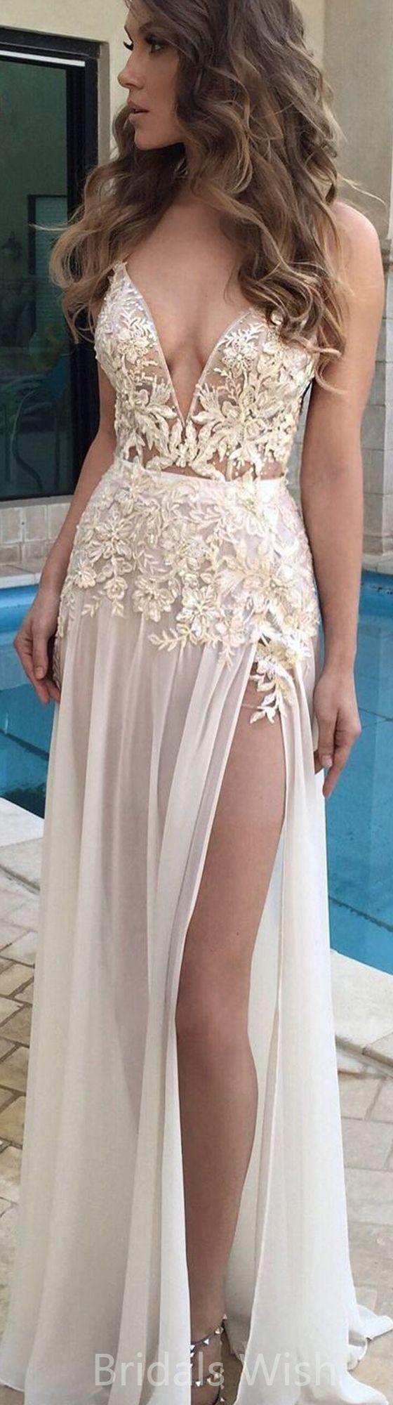Elegant long prom dresses lace top long prom dressesdeep vneck