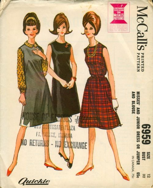 McCall's 6959; ©1963; Misses' and Junior Dress or Jumper and Blouse. Sleeveless dress or jumper, with one-piece front and two-piece back, and front buttoned blouse. Dress or jumper has rounded neck, French darts at front , center back zipper. Belt is optional. Blouse has rounded collar, long set-in sleeves gathered into buttoned bands. Collar, front edges and sleevebands are interfaced.