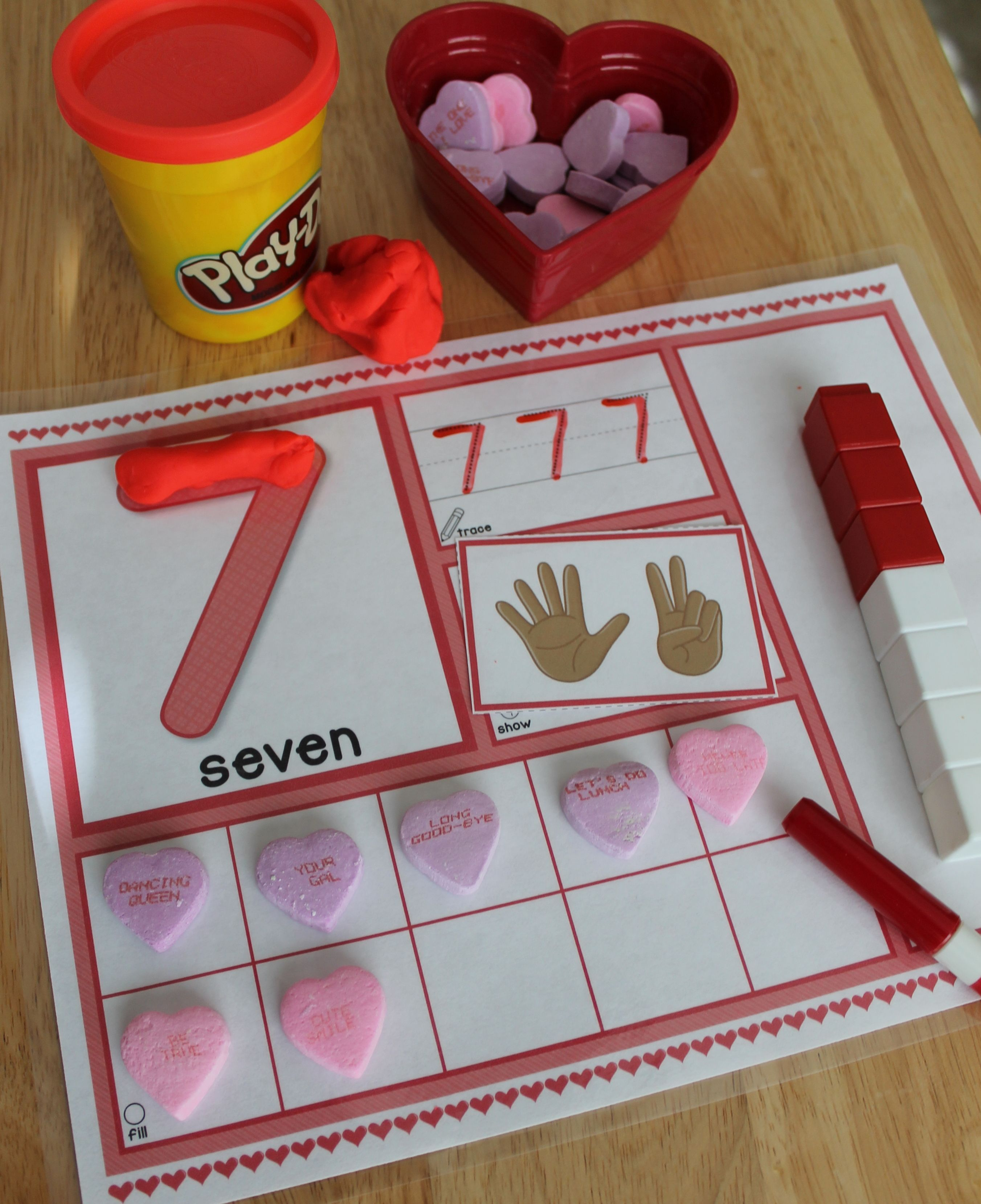 Valentine S Day 1 20 Number Mats Is A Hands On Math