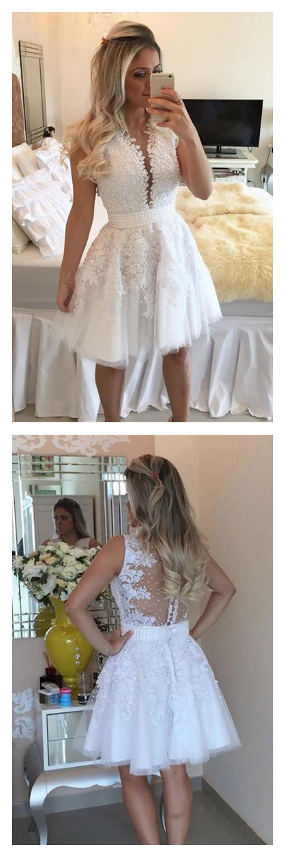 White lace homecoming dresses vneck beading bodice short prom