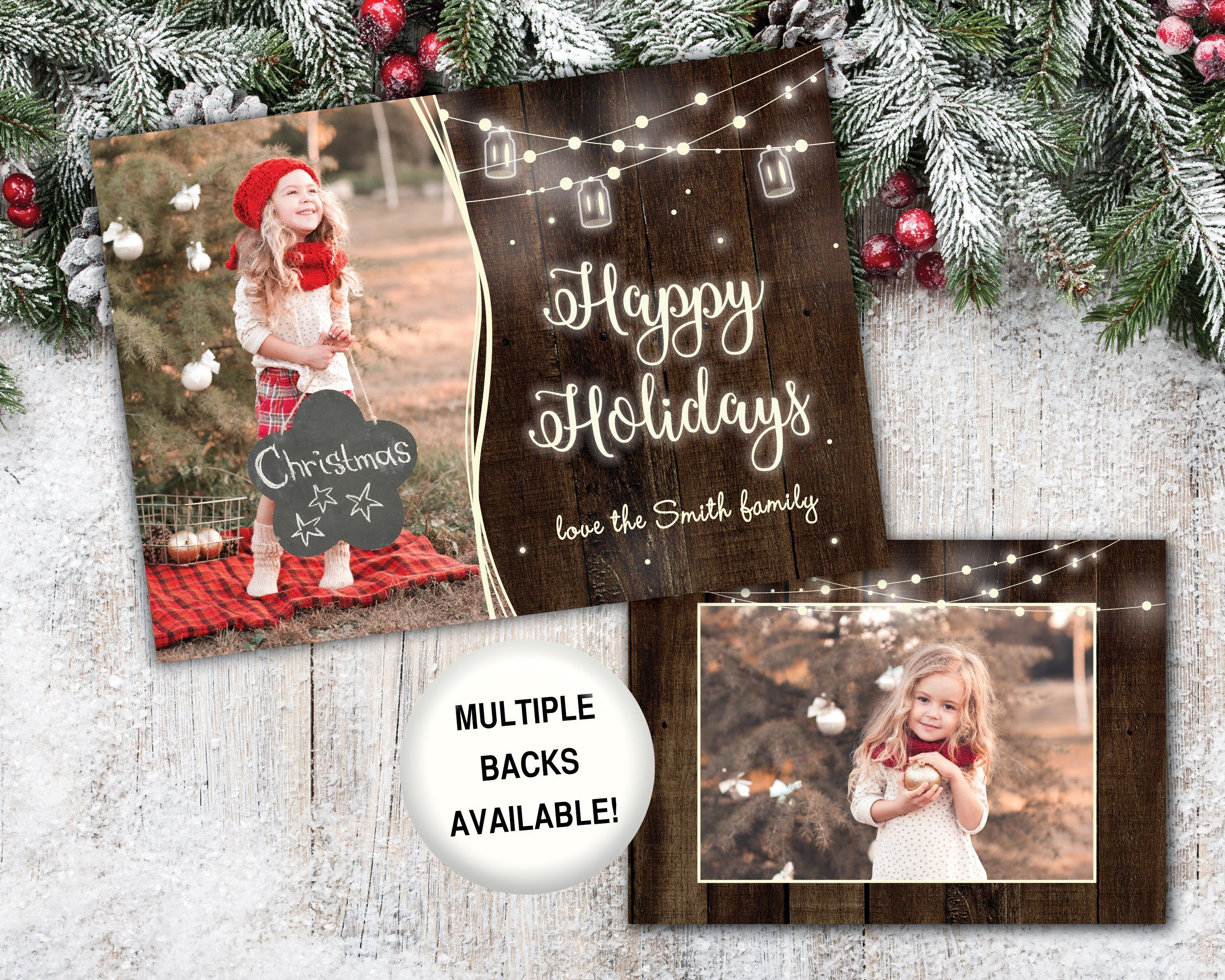 Rustic Holiday Card With Photo Happy Holidays Card With Etsy Happy Holiday Cards Holiday Photo Cards Christmas Card Template