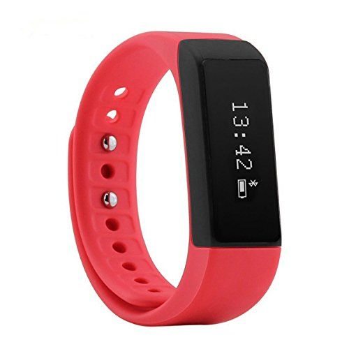 Oumeiou Trend United i5 Plus Bluetooth Smart Bracelet Smart Watch Sports Fitness Tracker For Smartphone Pedometer Tracking Calorie Health Sleep Monitor Free Fitness App for Android  IOS Red *** For more information, visit image link.