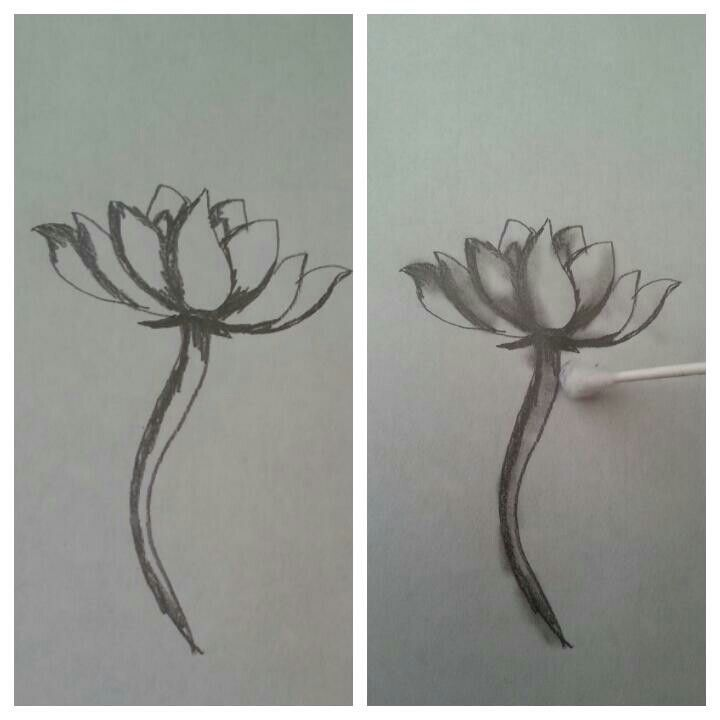 Use a Q-tip to blend out drawings to give it a highlight and shadow