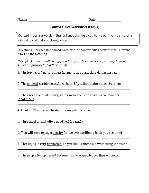 Context Clues Worksheet Part 3 Intermediate Great English Tools
