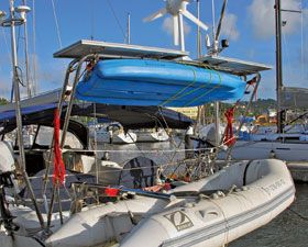 Stern Arch With Davit For A Dinghy Solar Panels And Wind Generator On Top Sailing Yacht Sailing Tall Ships