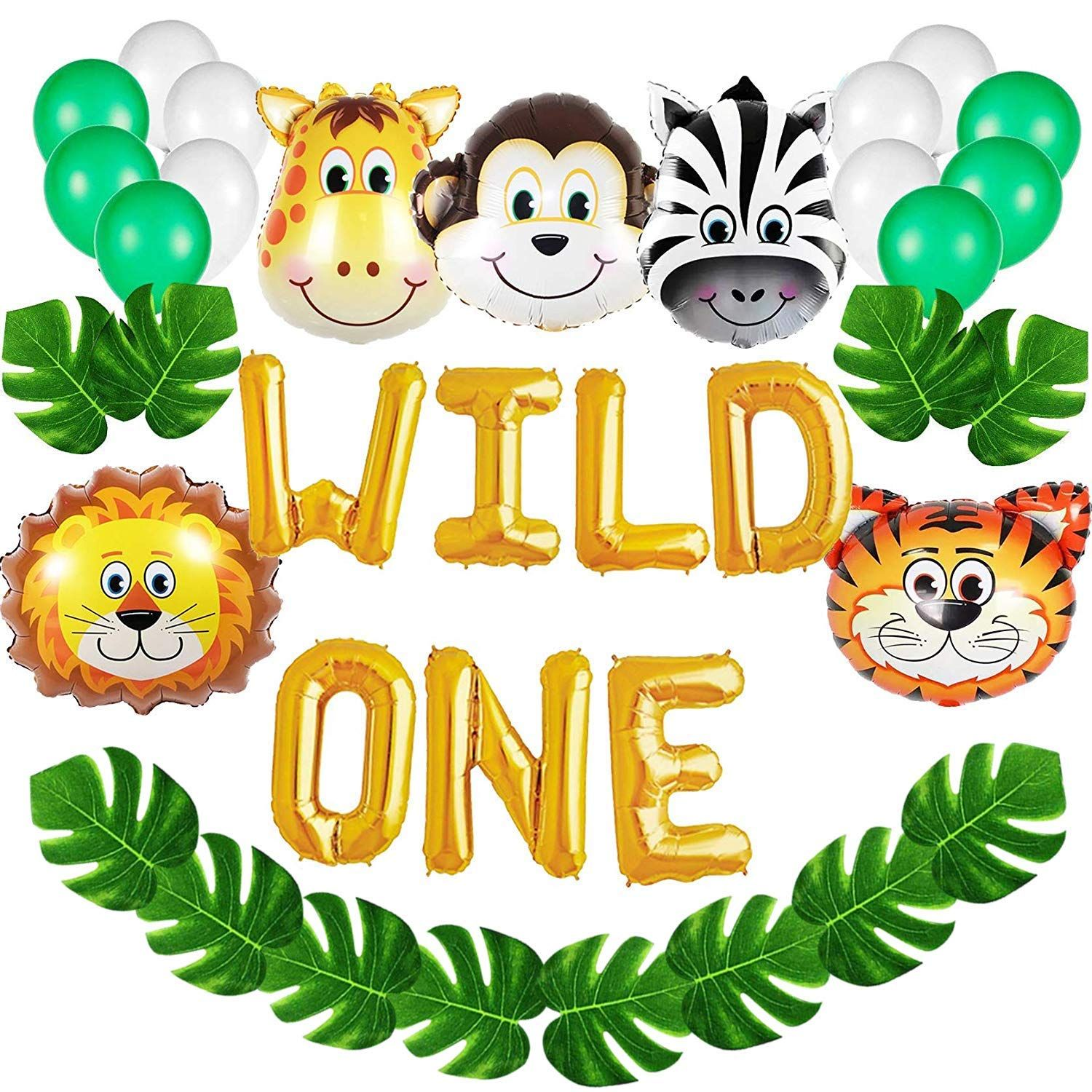 Amazon Wild One Birthday Decorations Kit Inch Balloons With Also Kids First Balloon Banner Rh