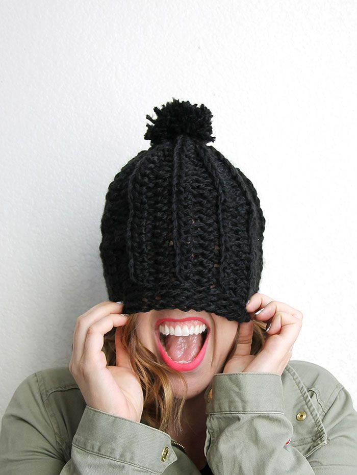 Chunky Ribbed Slouch Hat - Free Chunky Crochet Hat Pattern | Crochet ...