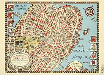 Dresser backing? Old Boston Map Wrapping Paper   coliseum ...