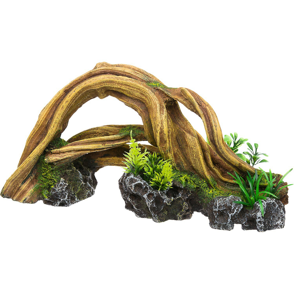Rockgarden Resin Wood Arch With Plants Petco Wood Arch Fish Tank Decorations Fish Tank