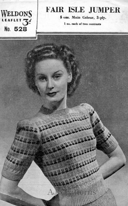 PDF Knitting pattern for a 1940's Ladies Simple Repeat Pattern ...