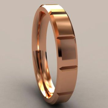 Rose Gold Thin Disigner 4mm Mens Wedding Band With Clean Sharp Lines Classic 14kt Pink Gold Wedding Ring Thin Mens Wedding Ring Pink Gold Wedding Wedding Bands Wedding