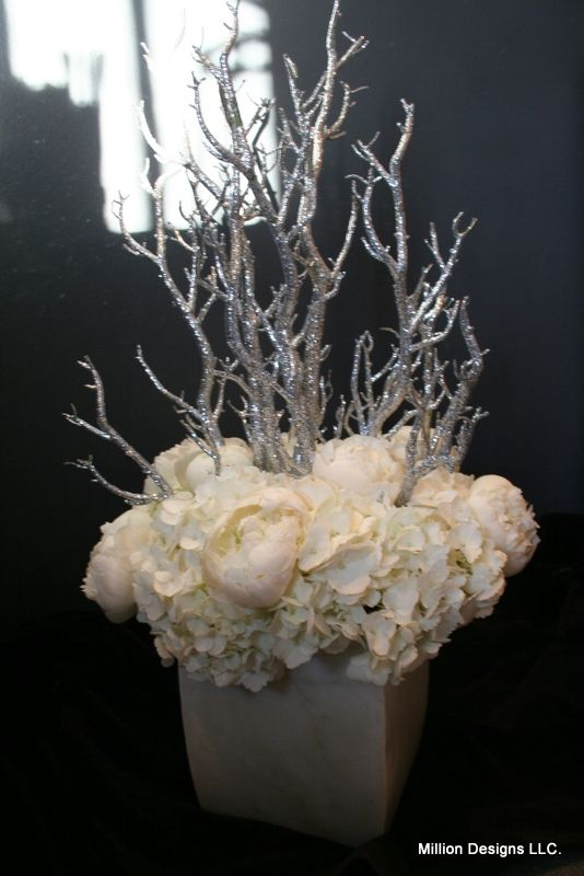 Million designs winter white holiday floral arrangement for Floral arrangements with branches