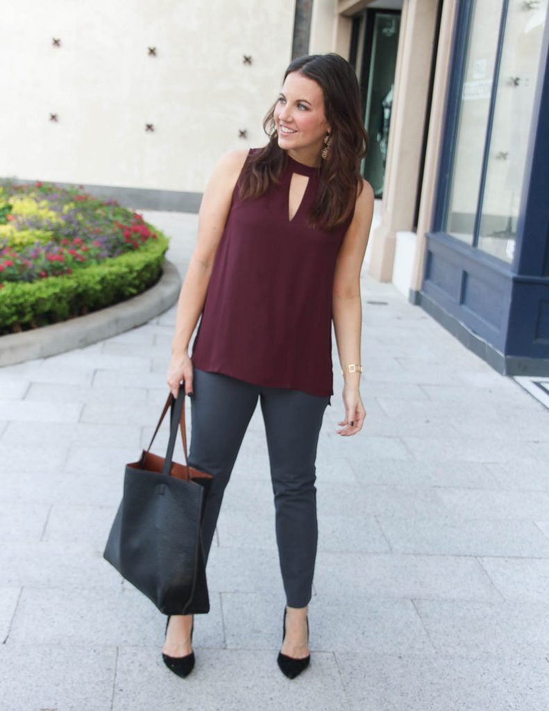53d37bc08244b3 Fall Work Outfit   Burgundy Top   Gray Pants   Houston Fashion Blog Lady in  Violet #workclothes #fallfashion