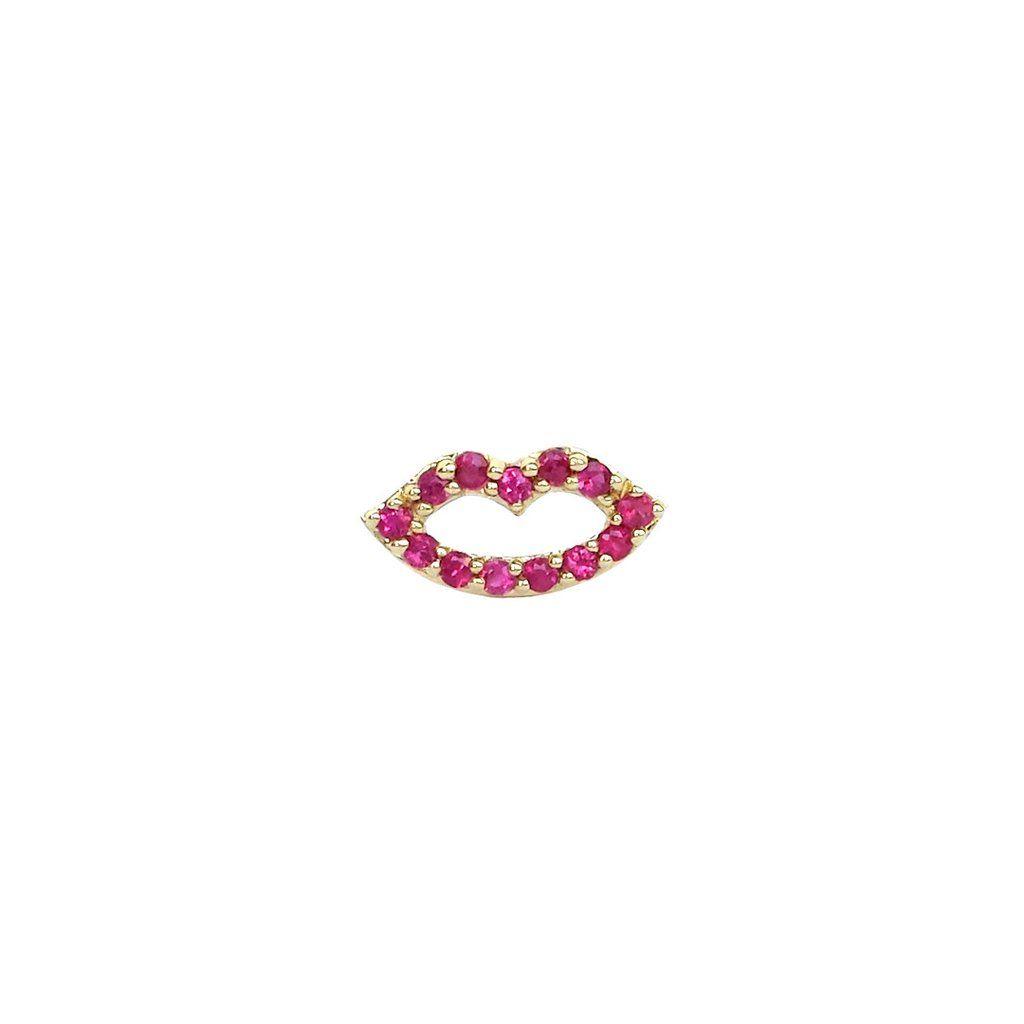 Ruby Lips Post Earring