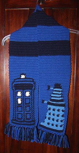 Dr Who Tardis and Dalek Scarf pattern by Stephanie Bransom   Comic ...
