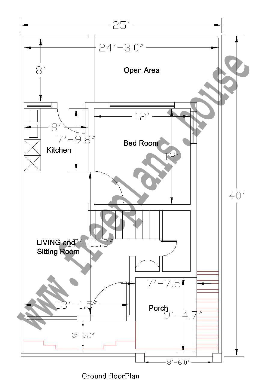 25x40 Feet Ground Floor Plan Plans Pinterest House