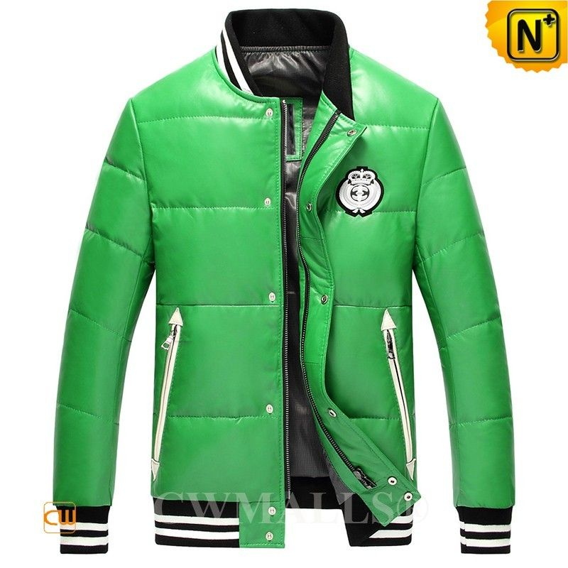 Cwmalls Leather Puffer Baseball Jacket Cw807030 Shop Leather Puffer Baseball Jacket In Green Or R Mens Outdoor Jackets Men S Leather Jacket Mens Down Jacket