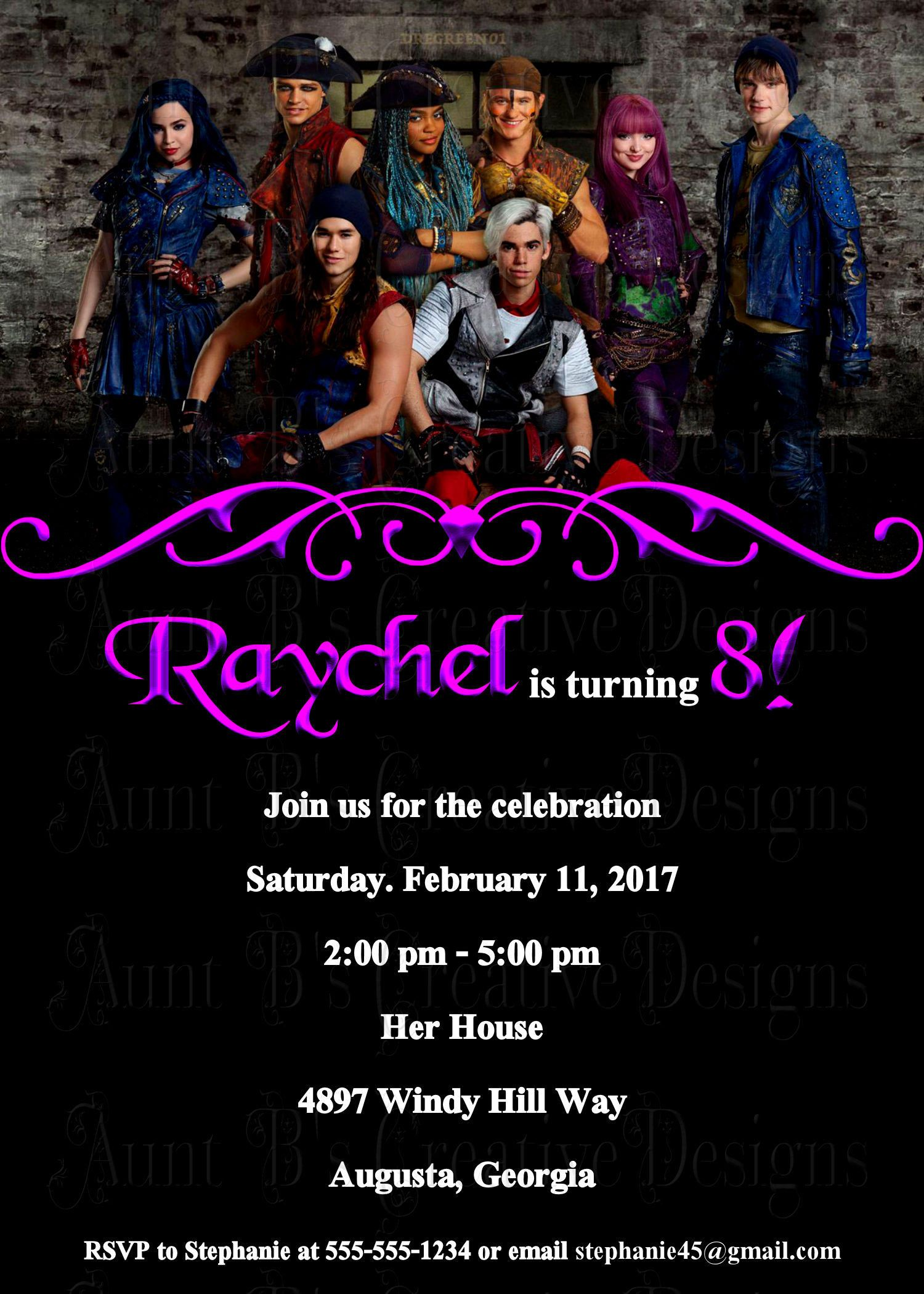Descendants 2 Birthday Party Invitation Movie Themed Style Mal And Evie By AuntBsCreativeDesign On