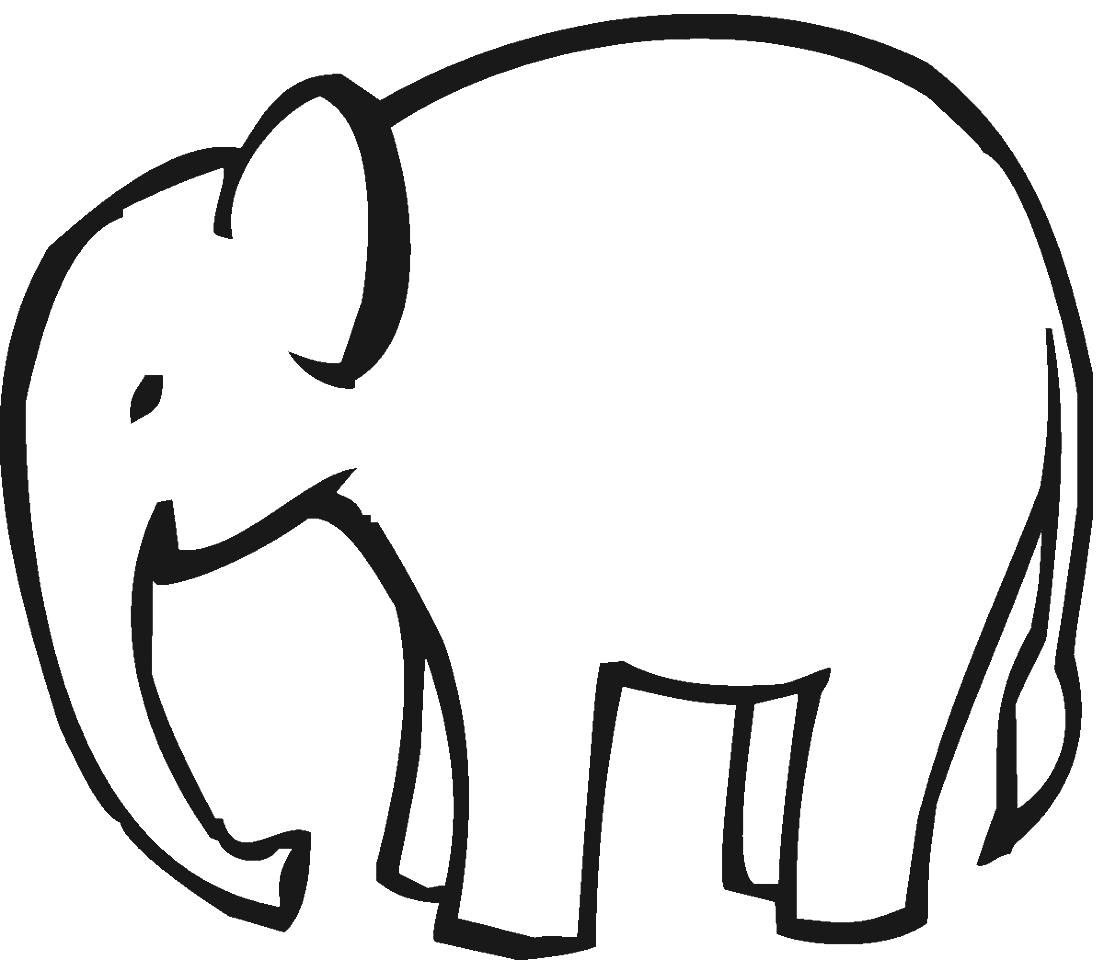 easy elephant coloring page