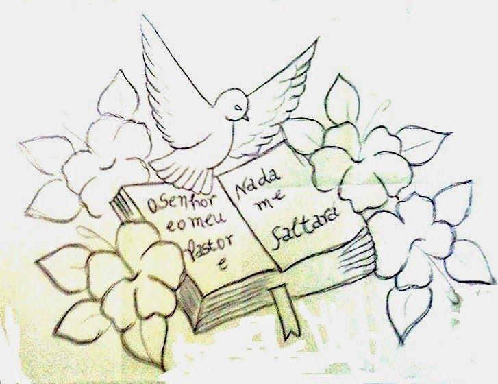desenho religioso de biblia pomba e flores para pintar wzory do