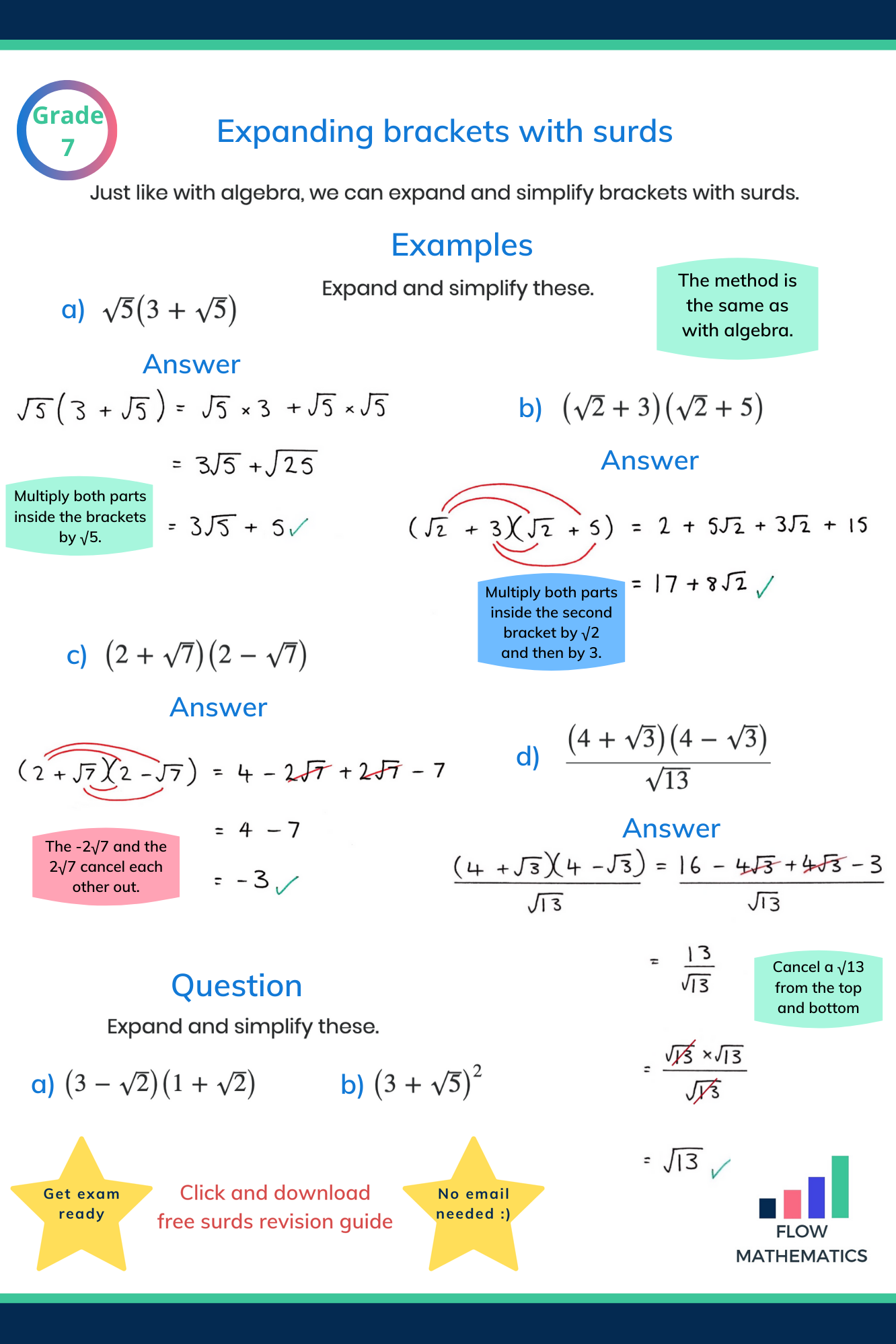 Expanding Brackets With Surds Studying Math Learning Mathematics Math Lessons [ 1998 x 1332 Pixel ]