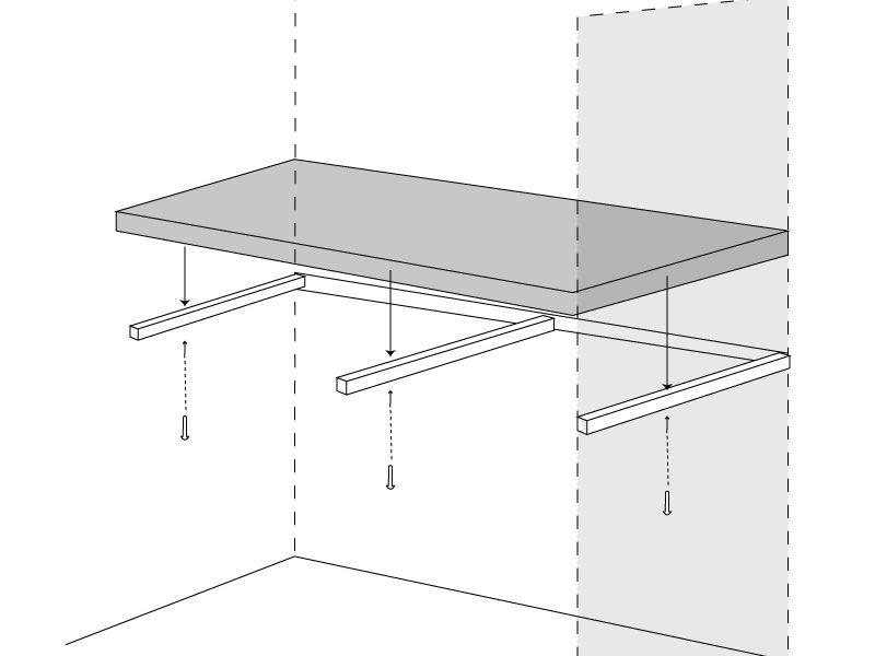 How to install a floating office desk (on a stud wall).