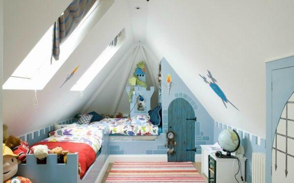 Kinderzimmer Dachboden Spielplatz Jungen Ritterturm Blau Weiß |  Kinderzimmer | Pinterest