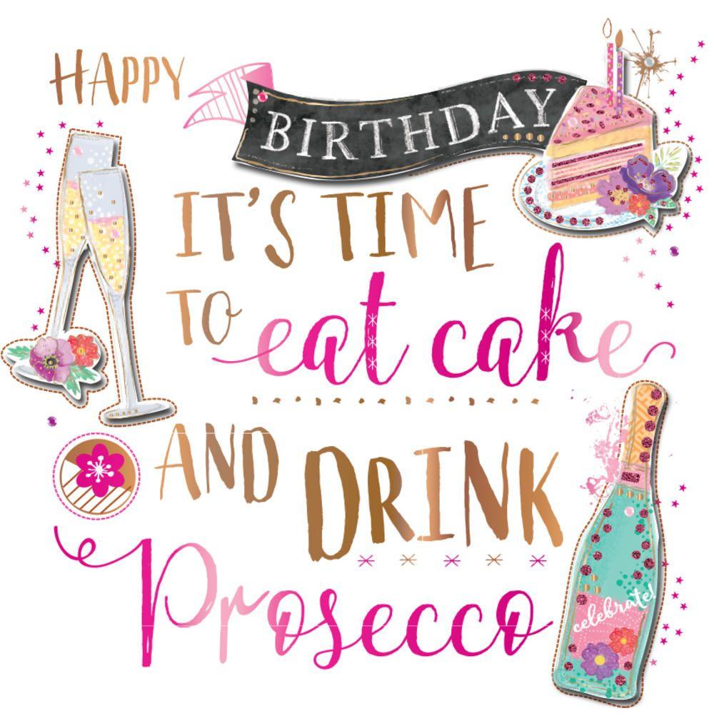 Birthday Cake & Prosecco Handmade Embellished Greeting