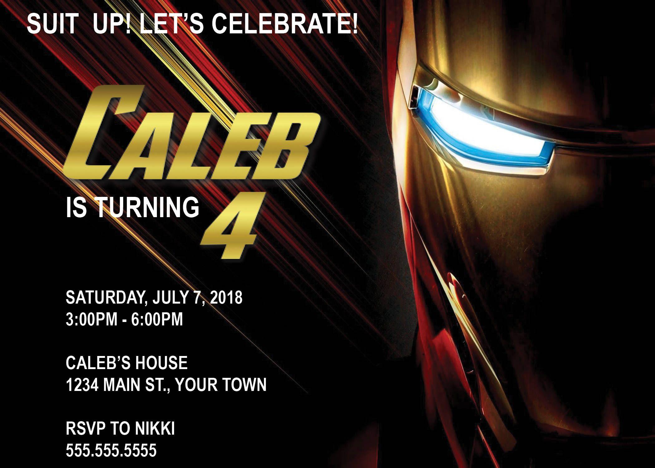 DIGITAL* Iron Man Birthday Party Invitation by NicolePartyDesigns ...