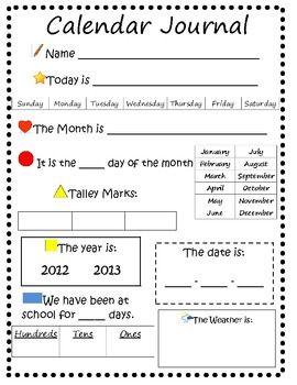 Calendar Daily Worksheet Calendar Math Calendar Journal Math Worksheet